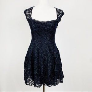 Free People Black Floral Lace Fit and Flare Dress